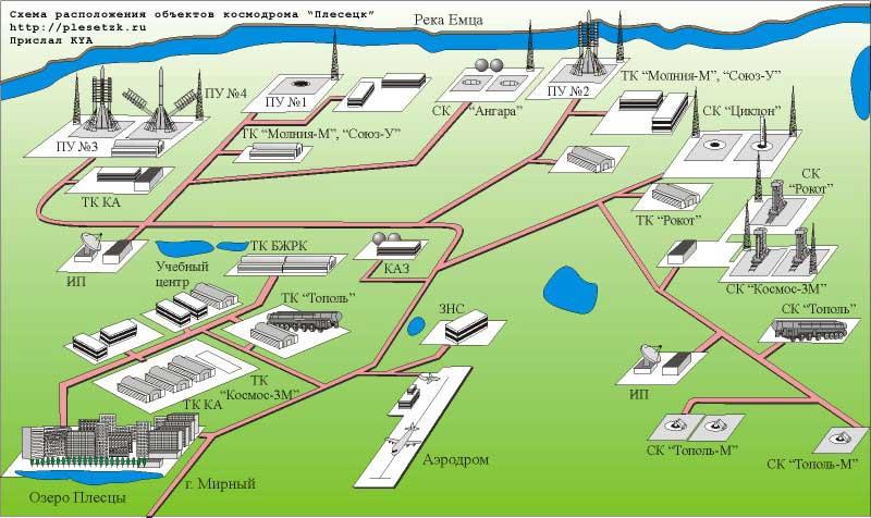 Расположение объектов на космодроме Плесецк.  Презентации по астрономии.  Спутники.  900igr.net.  Картинка 24.